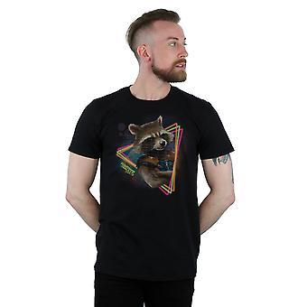 Marvel Men's Guardians Of The Galaxy Neon Rocket T-Shirt