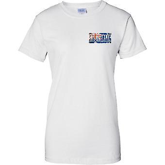 Australia Grunge Land Name Flag Effect - Damen Brust Design T-Shirt