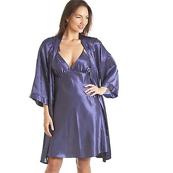 Camille Luxury Kimono Style Blue Polka Dot Print Chemise And Wrap Set