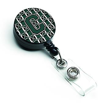 Letter C Football Green and White Retractable Badge Reel