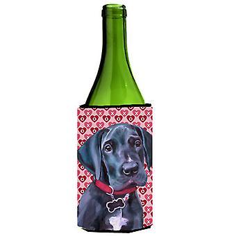 Negro Gran Danés cachorro corazones amor y día de los enamorados botella de vino bebidas Insu