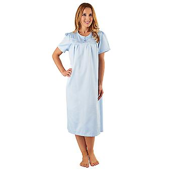 Slenderella ND8235 vrouwen blauw satijn nacht jurk korte mouw Pyama