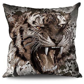 Wild Animal Tiger Linen Cushion 30cm x 30cm | Wellcoda