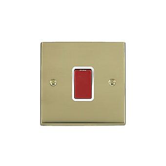 Hamilton Litestat Cheriton Victorian Polished Brass 1g 45A Double Pole Red Rkr/WH