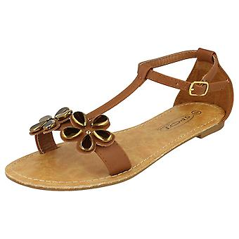 Womens Spot On T-Bar Ankle Strap Summer Sandals