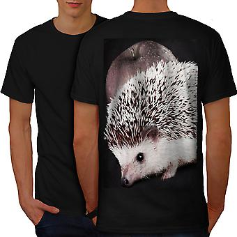 Hedgehog Apple Fun Men BlackT-shirt Back | Wellcoda