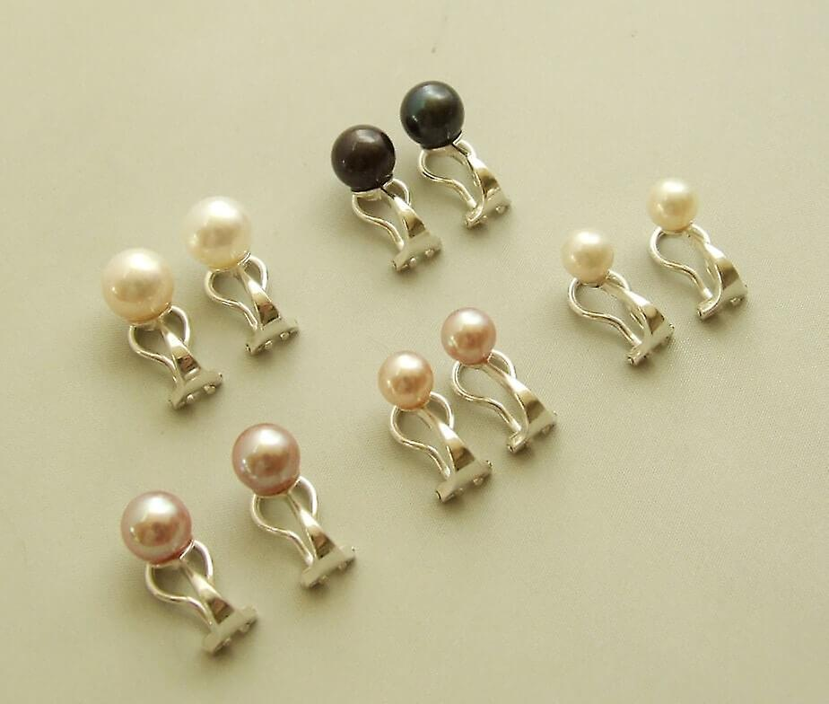 Silver earclips with Pearl