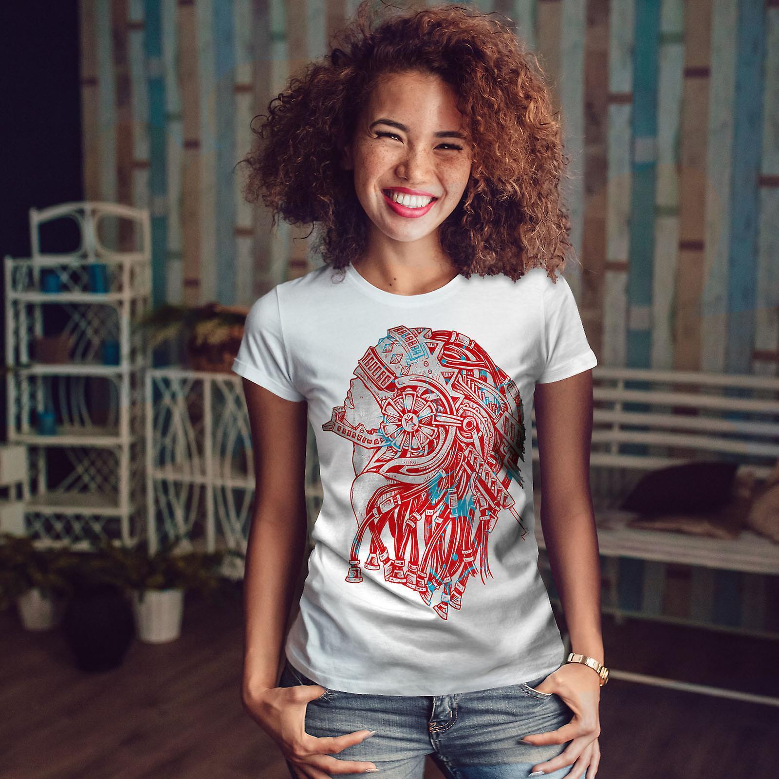 Robot Guerrier Fantasy WhiteT-shirt femme | Wellcoda