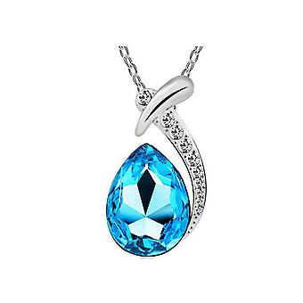 Γυναικεία μπλε κρύσταλλο διαμάντια κρεμαστά κολιέ δάκρυ πέτρα