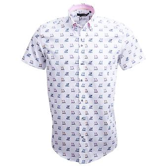 Guia Londres algodão branco Sateen Deckchair impressão manga curta Mens camisa