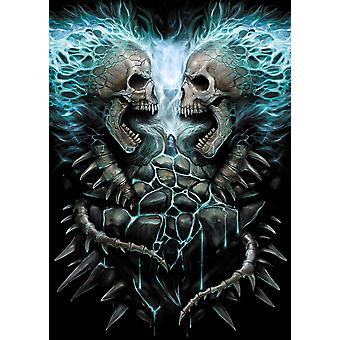 Spiral Direct Gothic FLAMING SPINE - Poster 62x92cm|AlloverPrint|Skeleton|Flames|Tribal