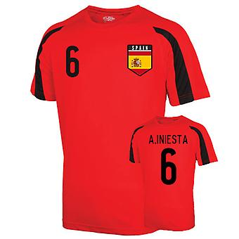 Spain Sports Training Jersey (a.iniesta 6)