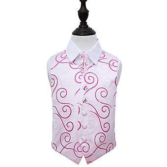 Ivory & Hot Pink Siirry häät liivi & Cravat Set pojille
