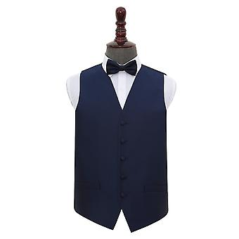 Navy Blue Solid Check Wedding Waistcoat & Bow Tie Set