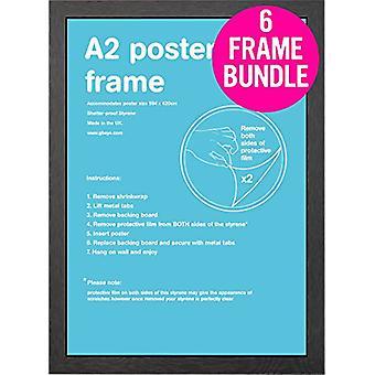 GB plakater 6 svart A2 MDF plakat rammer 42 x 59.4cm bunt