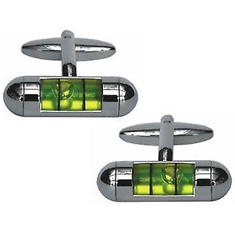 Zennor Spirit Level Cufflinks - Silver/Green