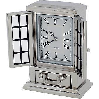 Cadeau producten Franse dressoir miniatuur klok - zilver