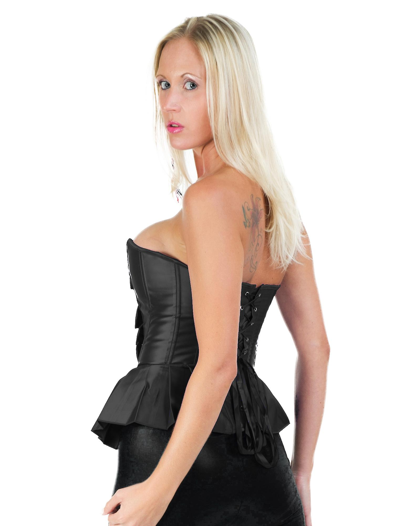 Killer Corsets Women's Sexy Corset in Satin Black Bow Detail & G String