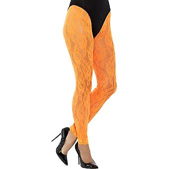 80 's blonde Leggings, Neon Orange