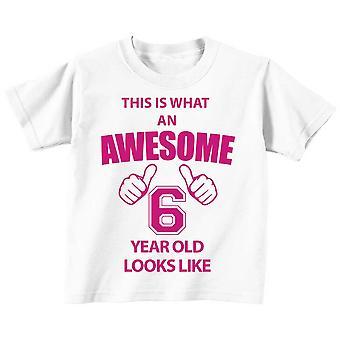 これは何の素晴らしい 6 年古い見えるような白 t シャツ ピンクのテキスト