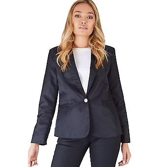 LMS Black Satin Blazer With Yellow Button With Metal Crest