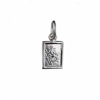 Silver 8x6mm rectangular St Christopher Pendant or Charm