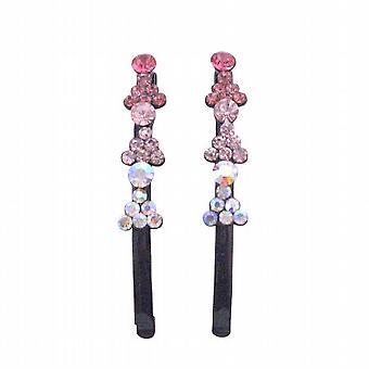 Pelo fantasía Pin fucsia rosa claro cristales negro Pin joyería del pelo