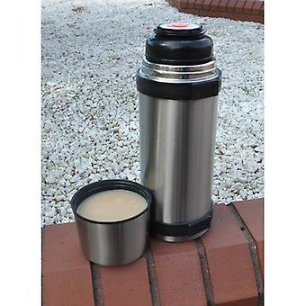 Kingfisher Large Sainless Steel Metal Vacuum Jumbo Flask Push Button Open Close Stopper Screw on Cup Lid Capacity 1.5 Litre (1500ml)