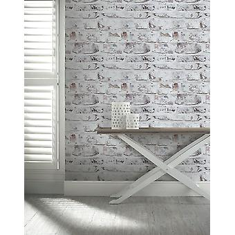 Whitewashed Painted Brick Wallpaper Distressed Weathered Old Industrial Urban