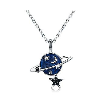 Planete pendant necklace and stars in silver 925 and blue enamel 8140