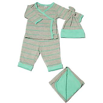 Baby grau 4-tlg. Geschenk-Set (Kimono Top, Cuffed Pant, Cap & Decke)