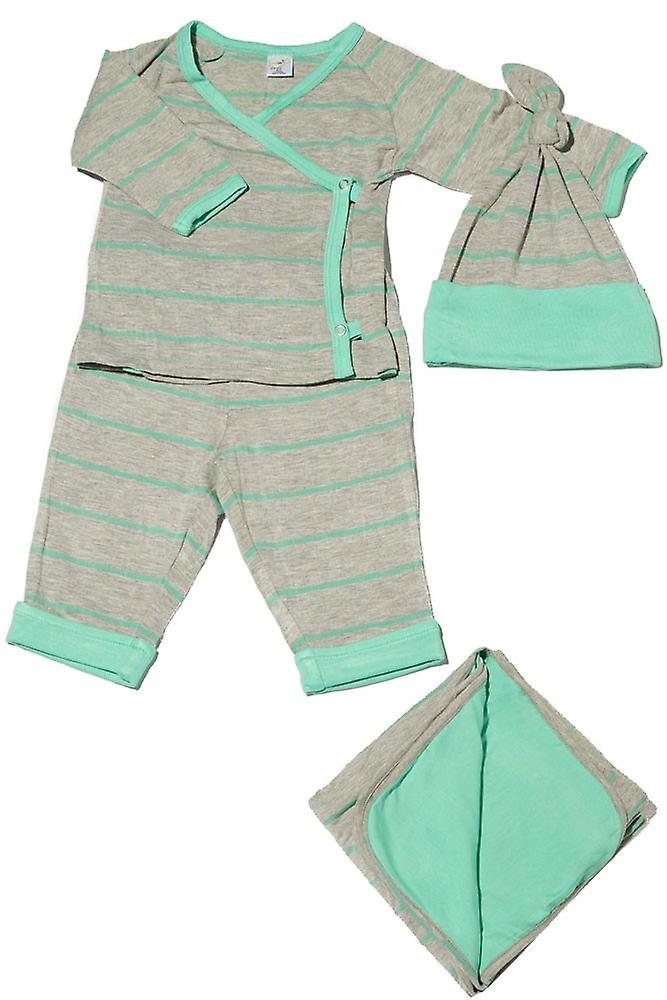Baby harmaa 4-kpl. Lahjapakkaus (Kimono Top, Cuffed Pant, Cap & peitto)