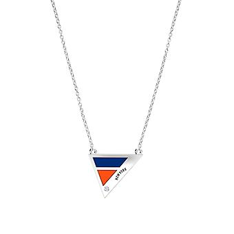 New York Mets Engraved Sterling Silver Diamond Geometric In Necklace Blue and Orange