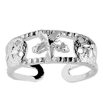 Sterling Silver Sand Dollar og søstjerner manchet stil justerbar tå Ring