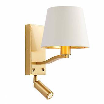 1 luce coperta da parete in raso spazzolato oro, vintage bianco faux Silk