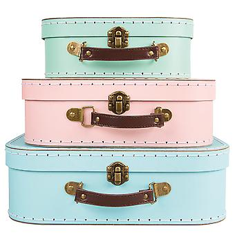 Sass & Belle Set Of 3 Pastel Retro Suitcases