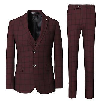 Allthemen Mens 3 peças Slim Fit xadrez terno do casamento blazer & Vest & calças