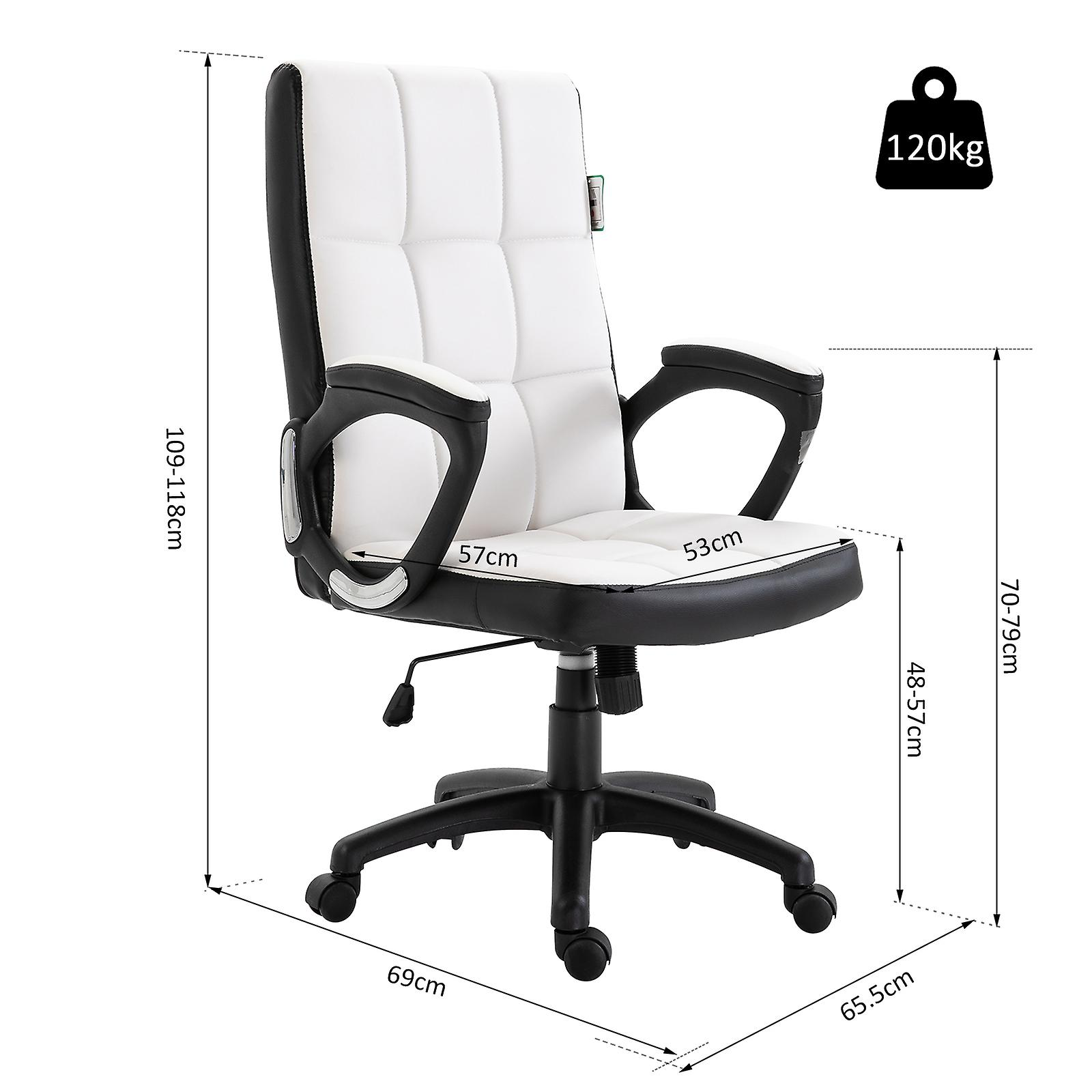 Excellent Vinsetto Office Chair Game Study High Back Adjustable Height Pu Leather Padded Swivel Base Castor Wheels White Gmtry Best Dining Table And Chair Ideas Images Gmtryco
