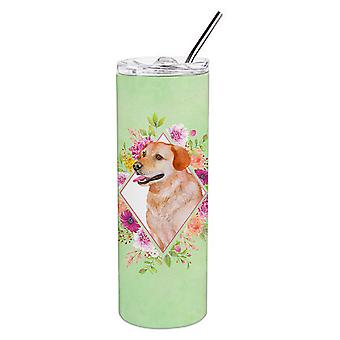 Gelbe Labrador Retriever grüne Blumen Doppel wandbemauert Edelstahl 20 oz Haut