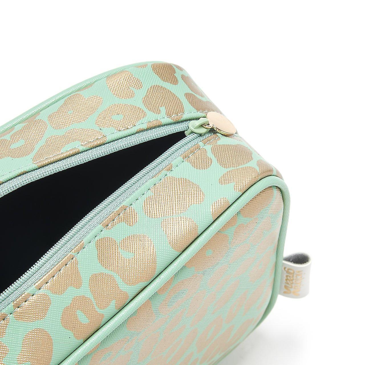 Beauty kit case in leopard jade