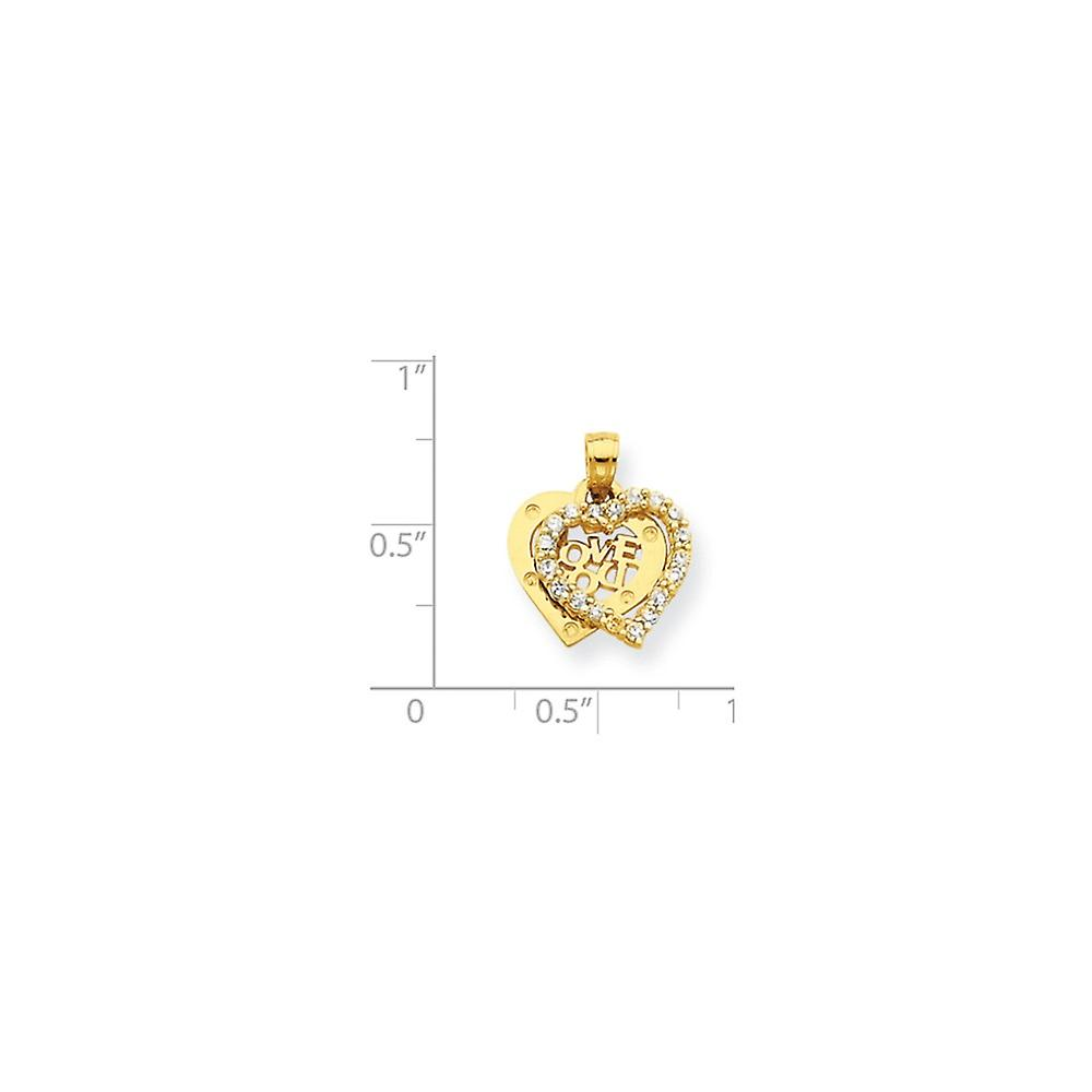 10k Yellow Gold Polished Moveable Textured back Small CZ Cubic Zirconia Simulated Diamond I Love You Heart Charm Pendant