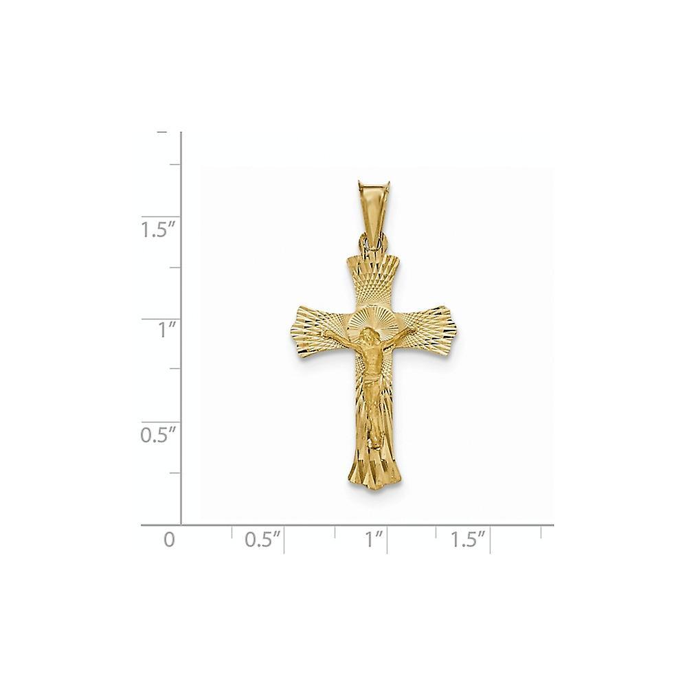 14 k Gelbgold poliert Satin und funkeln geschnitten Kruzifix Anhänger Halskette Schmuck Geschenke für Frauen