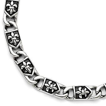 Rostfritt stål Hummer Claw Stängning Polerad Fleur De Lis Armband 8,75 tums smycken gåvor för kvinnor