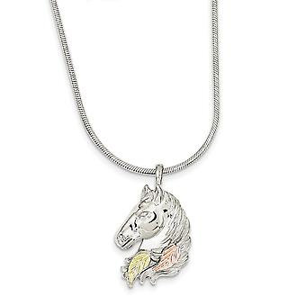 925 Sterling Silver Polished and satin Lobster Claw Closure and 12k Large Horsehead Necklace 20 Inch Jewelry Gifts for W