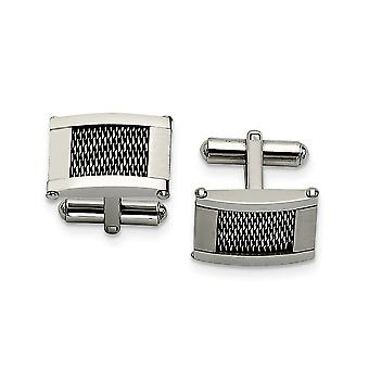 Stainless Steel Wire Brushed and Polished Cuff Links Jewelry Gifts for Men