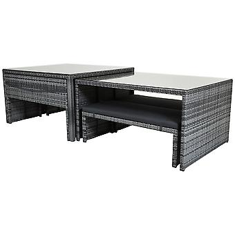 Charles Bentley Rectangular Rattan Dining Set Glass Top Table And Benches Grey Charles Bentley Rectangulaire Rattan Dining Set Glass Top Table And Benches Grey Charles Bentley Rectangulaire Rattan Dining Set Glass Top Table And Benches Grey Charles Bentley