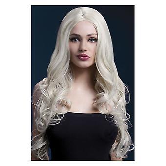 Feber Carols peruk, Blond, lång mjuk Curl med centrum avstickning, 26-tums / 66cm maskeraddräkter tillbehör