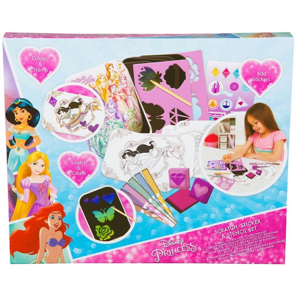 Disney Princess scratch, stencil & klister märke set
