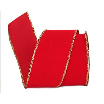 63mm Wide Wired Edge Red Velvet Style Ribbon for Crafts