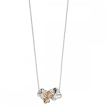 Elements Silver Ruffle Design Rose Gold Plate Plain Silver Necklace N4173